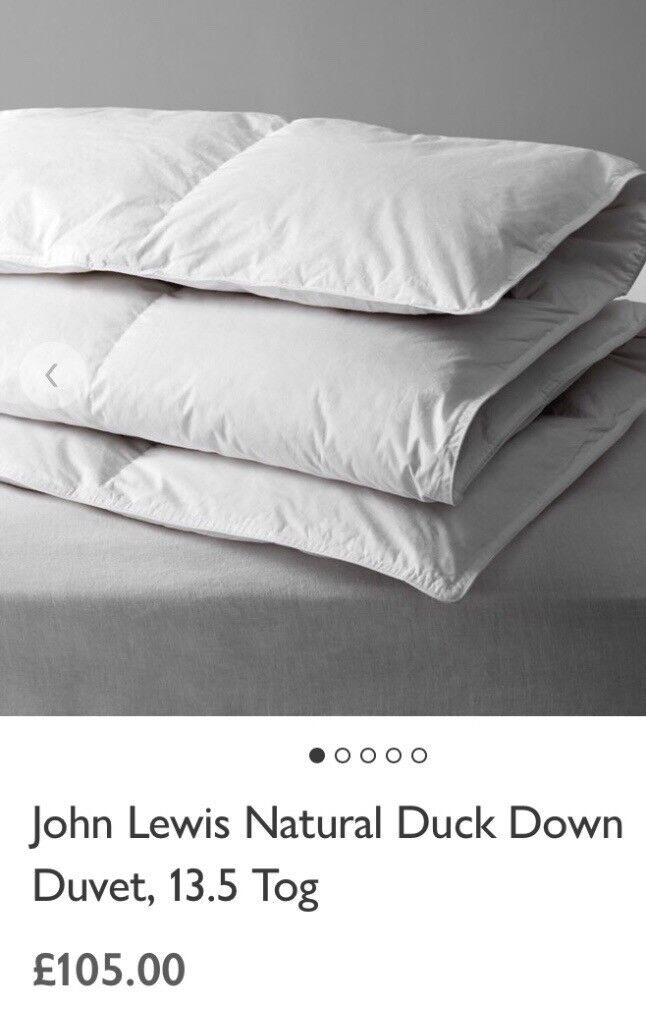 John Lewis Single Used Natural Duck Down Duvet 13 5 Tog Rating
