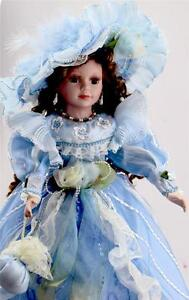 COLLECTIBLE PORCELAIN VICTORIAN PRINCESS DOLL BLUE DRESS  22