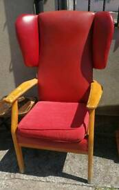 Parker Knoll wing back armchair and one other