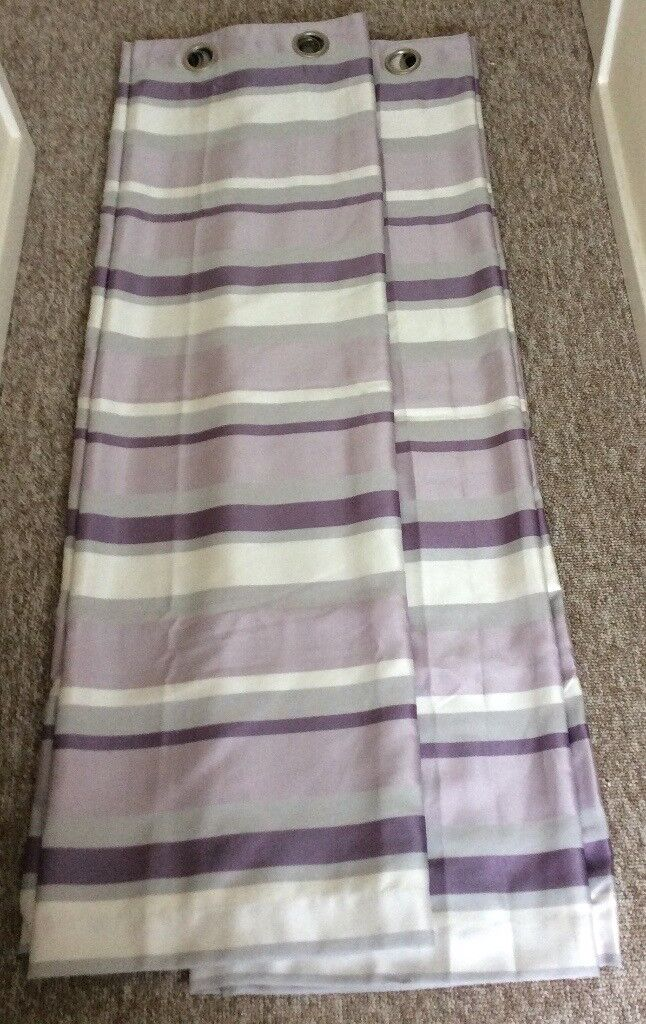 """Dunelm Eyelet Lined Curtains 64"""" x 54"""" in Purple/ Silver"""