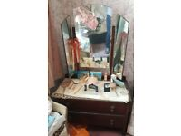Vintage furniture from the '50s '60s - dressing table with mirrors and two chest of drawers
