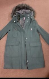 Ladies forest green wool look coat with fur hood size 10