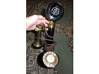 Candlestick telephone, bell box c1924 and telegraphy/telephony book c 1929