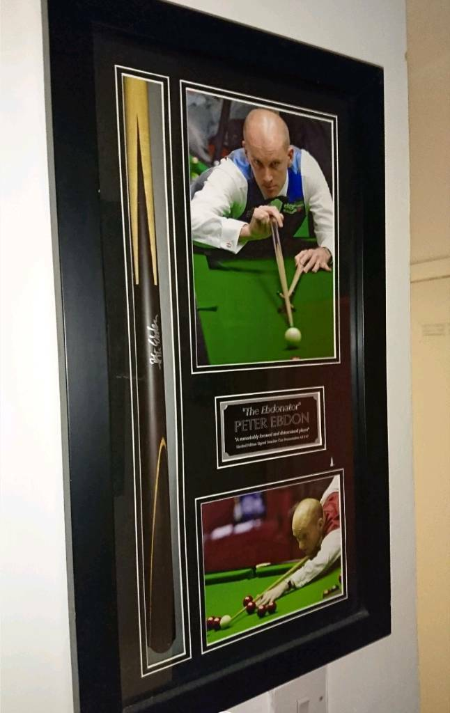 Peter Ebdon limited edition hand signed Snooker Cue display with Coa