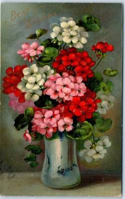 "1910s Greetings Embossed Postcard ""Best Wishes"" Pink, Red & White Flowers / Vase"