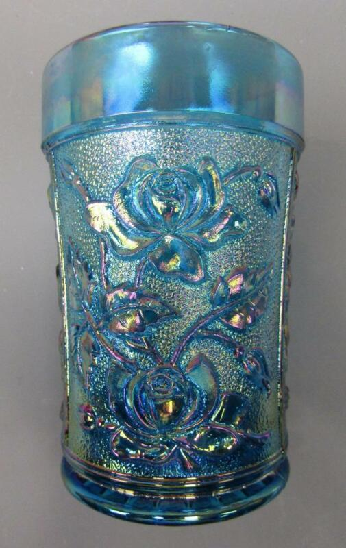 Modern Reproduction LUSTRE ROSE Blue Carnival Glass Tumbler  B401