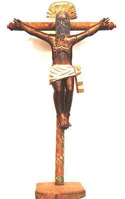 ANTIQUE BLACK CHRIST FROM ESQUAPULAS -LARGE WOODEN HANDMADE CRUCIFIX-1930