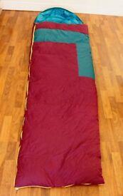 Caribee sleeping bag (-5 Celsius), compact, light weight, thermal efficient sculpture design.