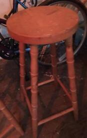 2 wooden tall bar stools