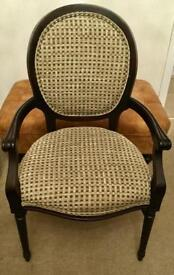Pair of upholstered dining arm chairs