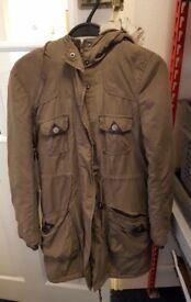 Ladies size 8 khaki parka coat, wool lining, house clearance item