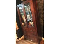 Dark walnut solid wood, Dresser / Glass Drinks cabinet