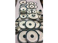 Vintage Dinner Service for Six Teal Blue Nice Quality Unsure of Maker