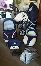 Baby merc 3 in 1 baby pram, stroller and car seat