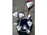 LEFT-HANDED - KING COBRA Titanium driver, 3, 5 & hybrid, irons, putter, NIKE trolley bag & EXTRA's