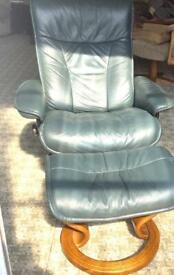 Ekornes chair and footstool