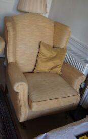 One or Two Gold Coloured High Backed Arm Chairs Second Hand