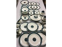 Dinner Service for Six Teal Blue Bone China Plates Bowls Cups Serving Dishes Coffee Pots
