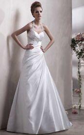 Wedding dress size 16 brand new halter neck Benjamin Roberts 2316 'tamsin' satin