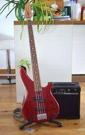 Yamaha Bass Guitar + Rehearsal Amp 10W. Great for beginners / intermediate