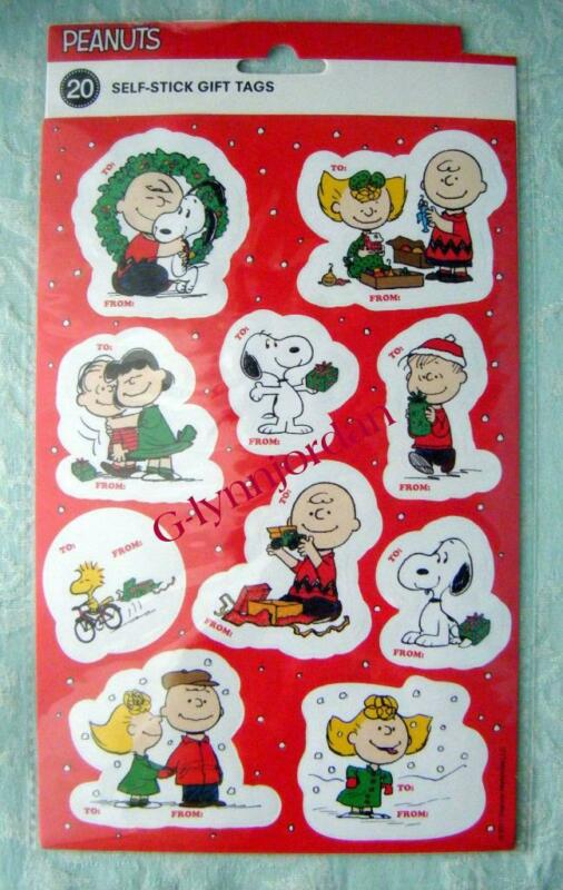 Peanuts Snoopy Christmas Holiday Gift Tags 1 Pack/20 Peel-n-Stick Tags New