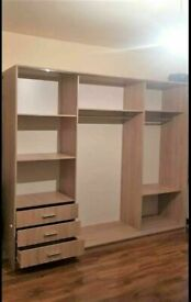 💥💯SALE OF THE DECADE 2/3 DOORS SLIDING WARDROBE WITH FULL MIRRORS ALL SHELVES & RAILS INCLUDED