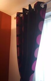CURTAINS FROM NEXT - PURPLE & BLACK DESIGN WITH EYELET RINGS