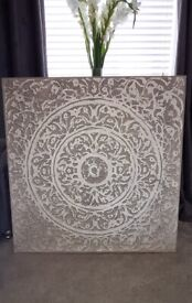 Large silver wall canvas
