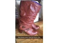 Real leather red or dead roots size 7