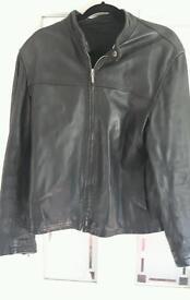 Mens black river island leather jacket