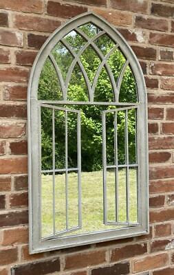 Garden Mirror / Interior Church Window Stone Effect Wrought Iron - 117cm x 63cm