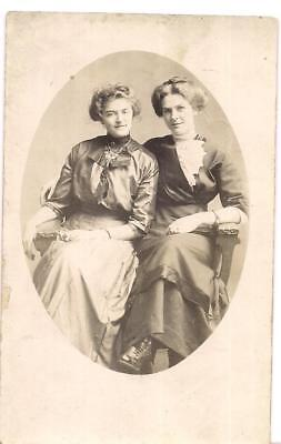 Lovely Coiffed Hair Victorian Fashion Women Vintage 1900s Real Photo Postcard