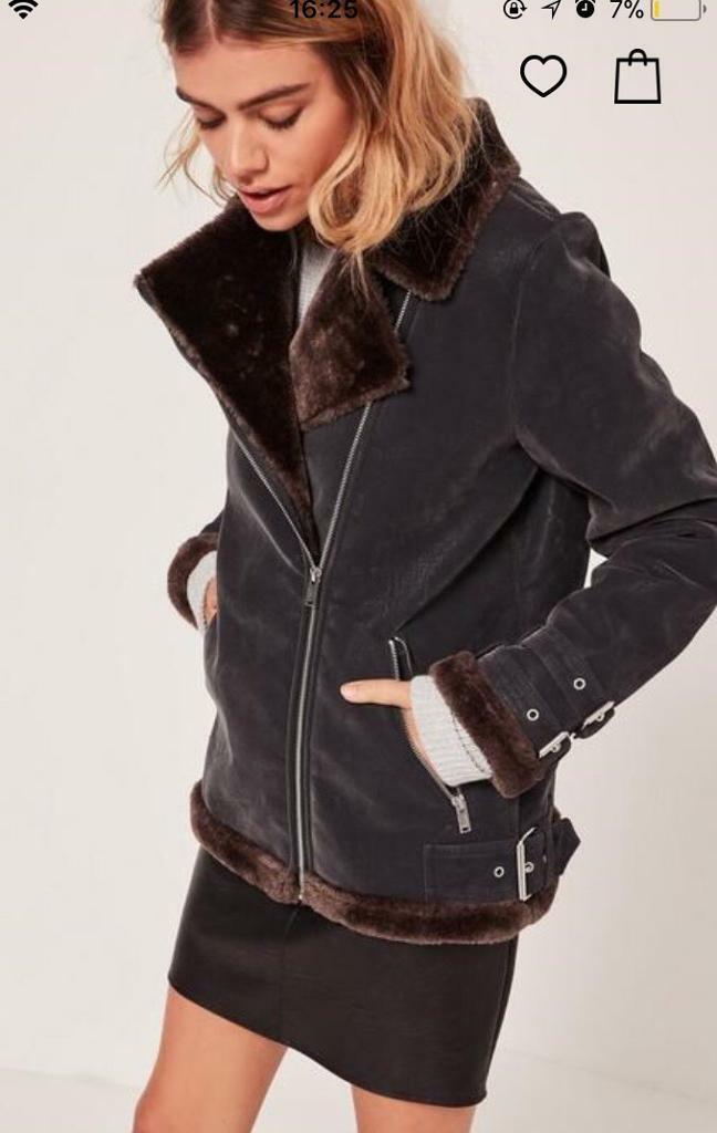 Brand new black and brown faux fur lined aviator jacket