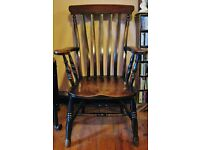 Antique Victorian High Lathe Back Windsor Elbow Country Kitchen Farmhouse Fireside Grandfather Chair