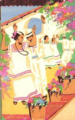 "The ""Jarana"" Dance From Yucatan, Mexico ca 1930s Vintage Colorful Art Postcard, usado segunda mano  Embacar hacia Argentina"
