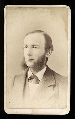 1870s CDV Man with Mutton Chop Sideburns by Gustavus H. Pach, New York - Mutton Chop Sideburns