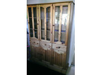 Antique Pine Glass Topped CupBoard with 3 draws For Kitchen/Dining/Living Room