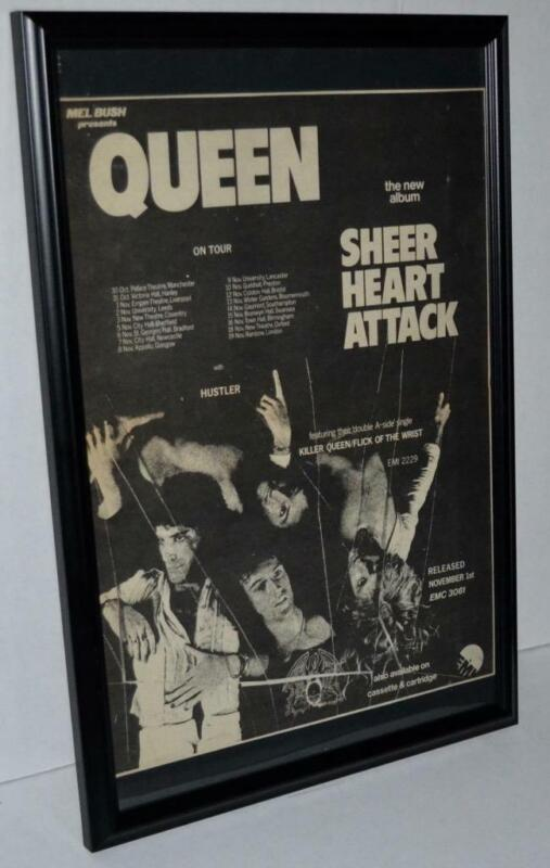 QUEEN 1974 ON TOUR SHEER HEART ATTACK FRAMED PROMOTIONAL CONCERTS POSTER / AD