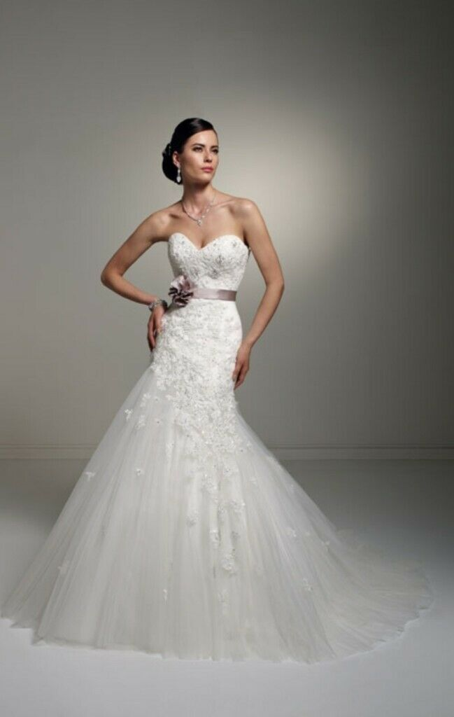 Stunning Ivory Sophia Tolli Wedding Dress Size 14 With Hand Sewn