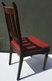 Vintage Oak Wooden Chair with oxblood leather seat
