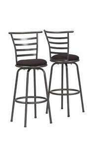 Monarch I 2396 Swivel Barstool - Set Of 2  Silver Grey Metal  |  BRAND NEW!