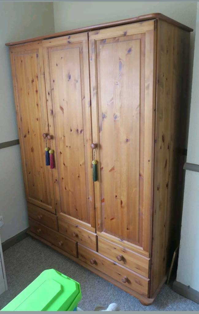 Pine triple wardrobe