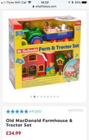 Old McDonald farm house tractor set animals sound moves