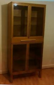 Cabinet, glass windows, x4 glass shelves