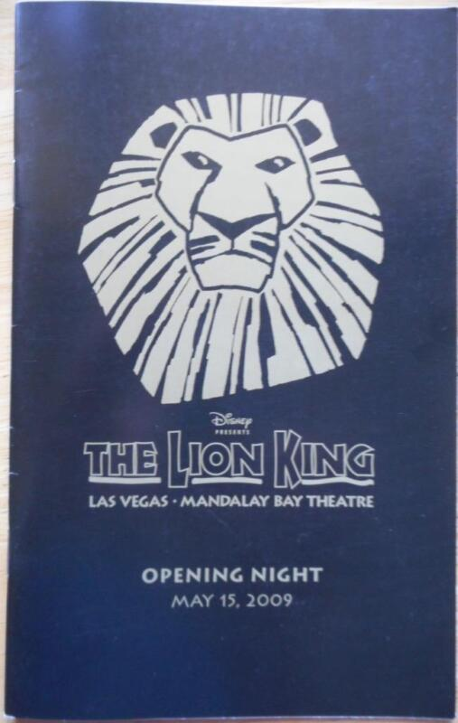 The Lion King  Playbill Thom Sesma Open Nite Mandalay Bay Theater Las Vegas 2009