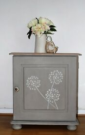 Beautiful Cupboard - Annie Sloan French Linen - Grey Washed Top - Solid Pine