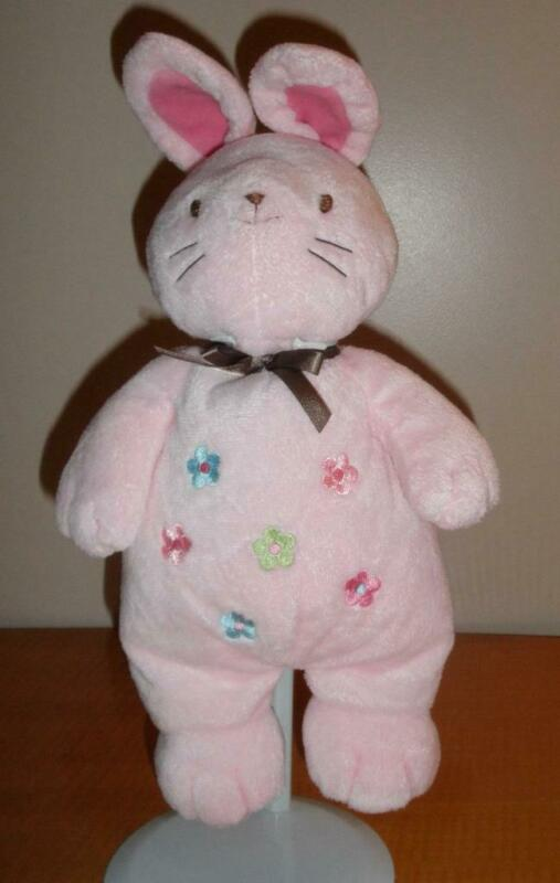 Child of Mine Carters Pink Bunny Musical Crib Pull Flowers Brown Bow