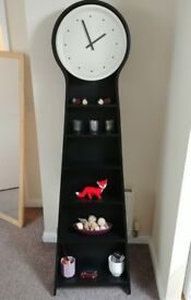 Standing Clock/Book Shelve, Beautiful, Black