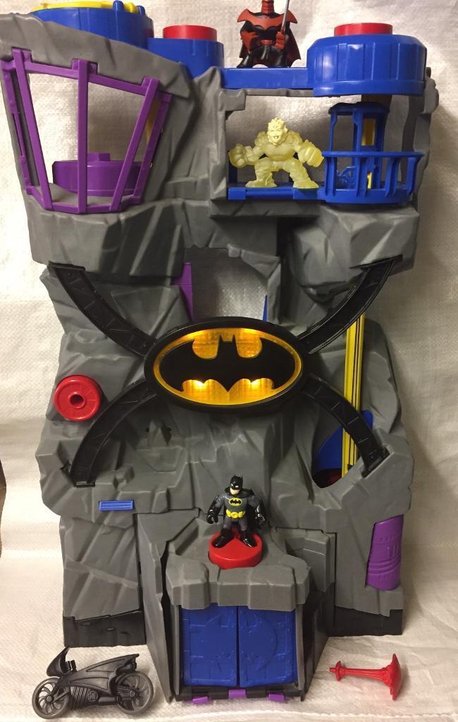 Fisher Price Batman Toys : Batman light up huge batcave batcycle figures fisher