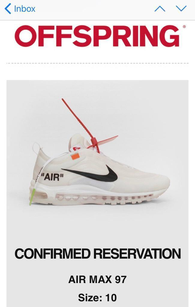 NIKE X OFF WHITE AIR MAX 97 UK 10 100% AUTHENTIC OPEN TO OFFERS PAYPAL DELIVERY